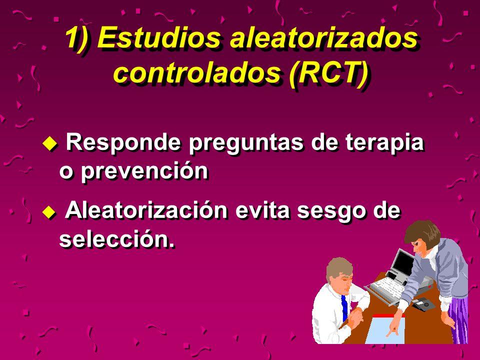 u Responde preguntas de terapia o prevención u Aleatorización evita sesgo de selección. u Responde preguntas de terapia o prevención u Aleatorización