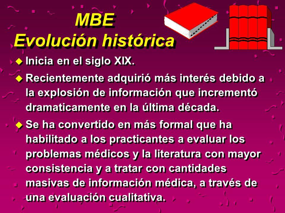 MBE Utilidad u En lugar de revisar rutinariamente el contenido de docenas de revistas para artículos interesantes, MBE sugiere enfocar la lectura a temas relacionados a problemas específicos de los pacientes.