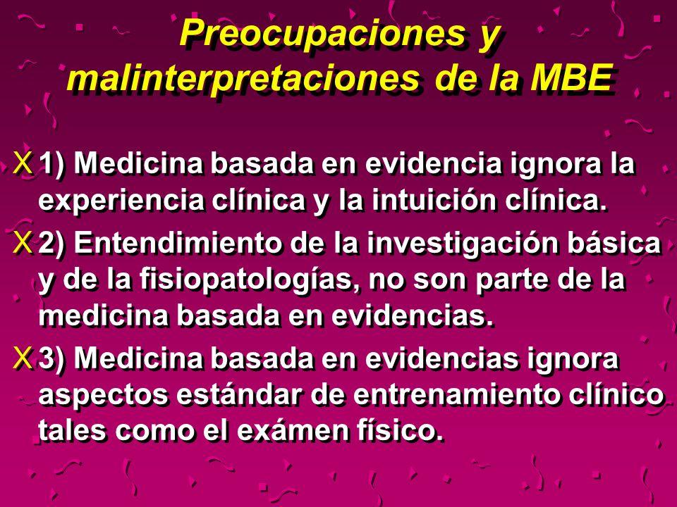 Preocupaciones y malinterpretaciones de la MBE X1) Medicina basada en evidencia ignora la experiencia clínica y la intuición clínica. X2) Entendimient