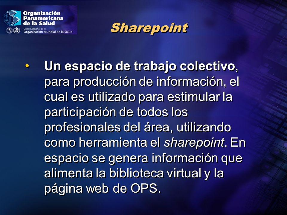 Un espacio de trabajo colectivo, para producción de información, el cual es utilizado para estimular la participación de todos los profesionales del área, utilizando como herramienta el sharepoint.