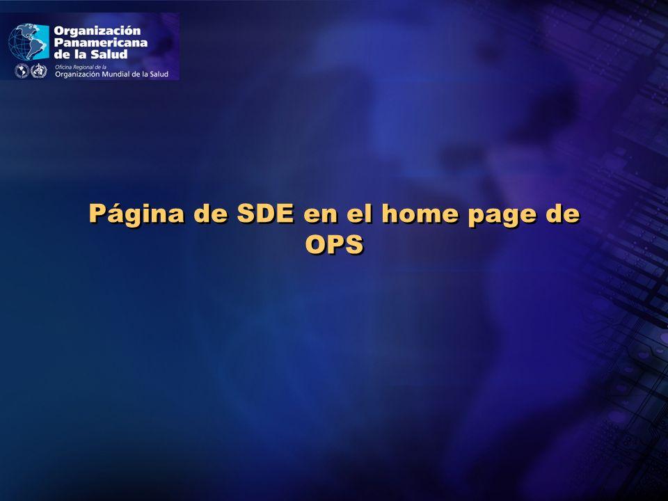 Página de SDE en el home page de OPS