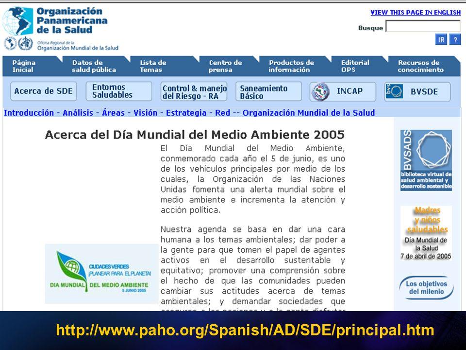 http://www.paho.org/Spanish/AD/SDE/principal.htm