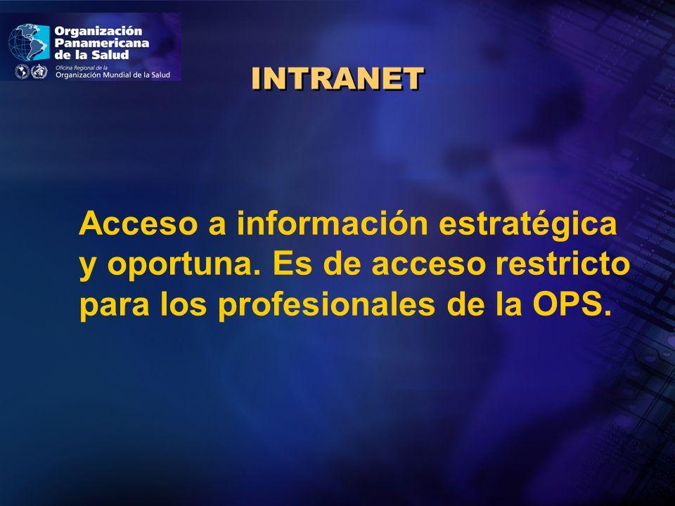 INTRANET Acceso a información estratégica y oportuna.