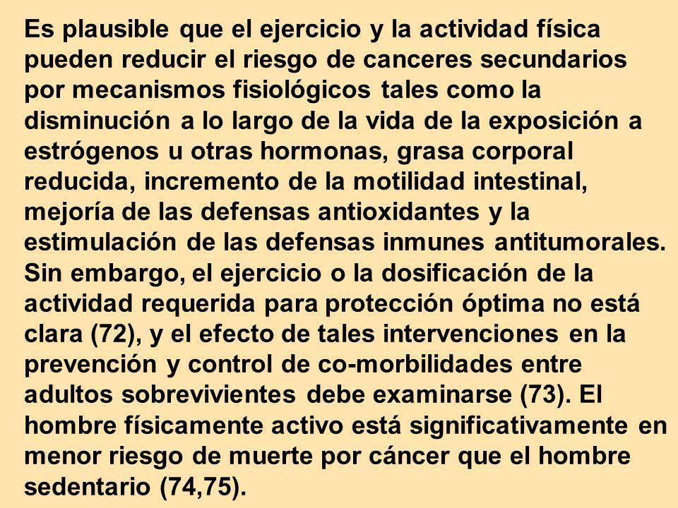 Es plausible que el ejercicio y la actividad física pueden reducir el riesgo de canceres secundarios por mecanismos fisiológicos tales como la disminu