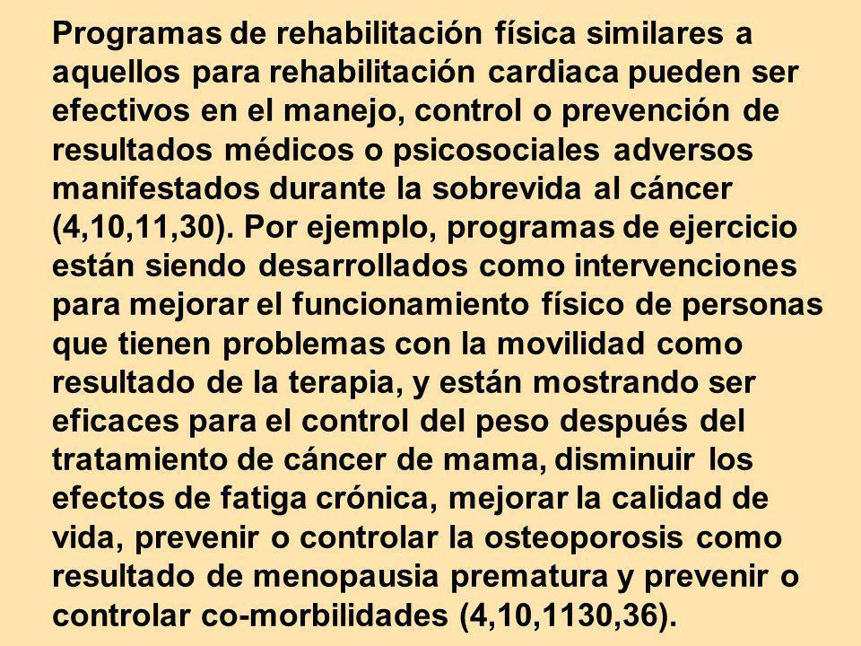 Programas de rehabilitación física similares a aquellos para rehabilitación cardiaca pueden ser efectivos en el manejo, control o prevención de result