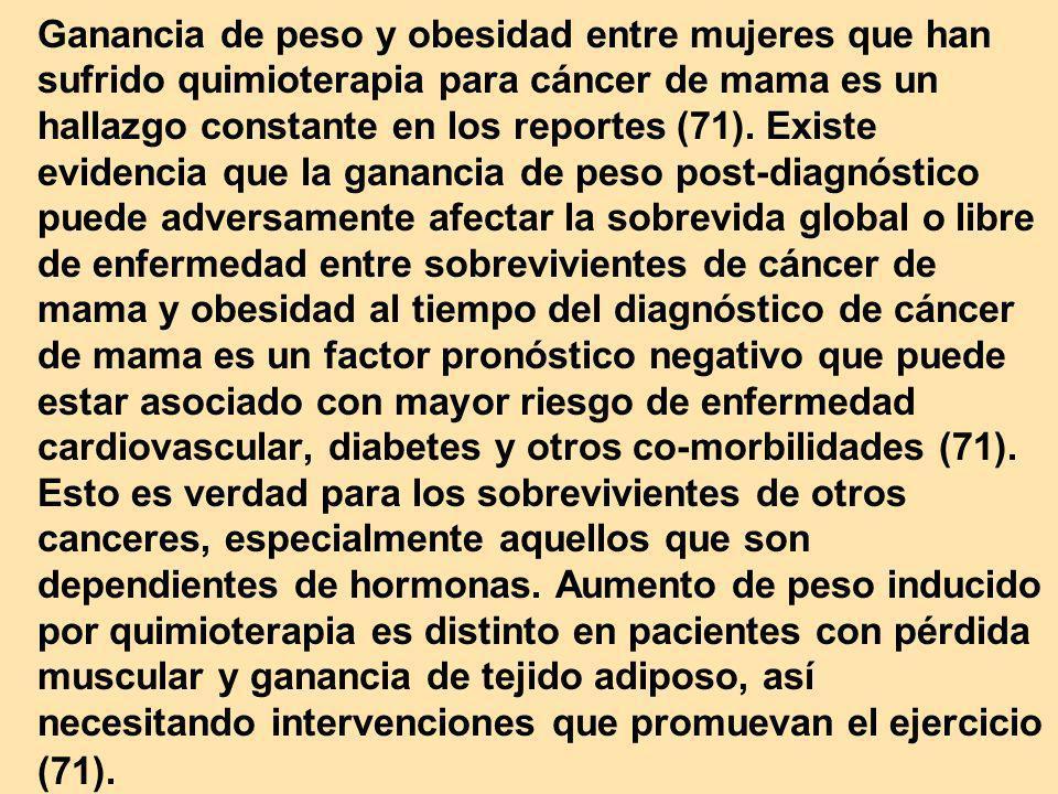 Ganancia de peso y obesidad entre mujeres que han sufrido quimioterapia para cáncer de mama es un hallazgo constante en los reportes (71). Existe evid