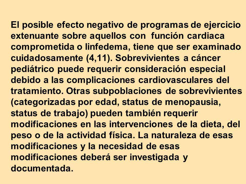 El posible efecto negativo de programas de ejercicio extenuante sobre aquellos con función cardiaca comprometida o linfedema, tiene que ser examinado