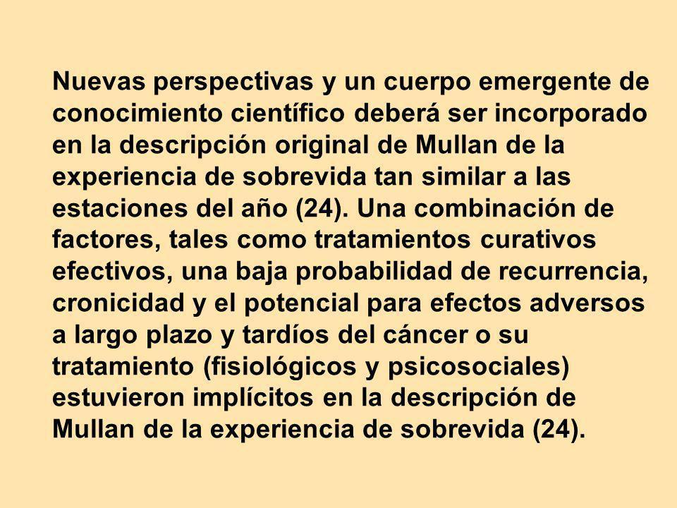 Nuevas perspectivas y un cuerpo emergente de conocimiento científico deberá ser incorporado en la descripción original de Mullan de la experiencia de