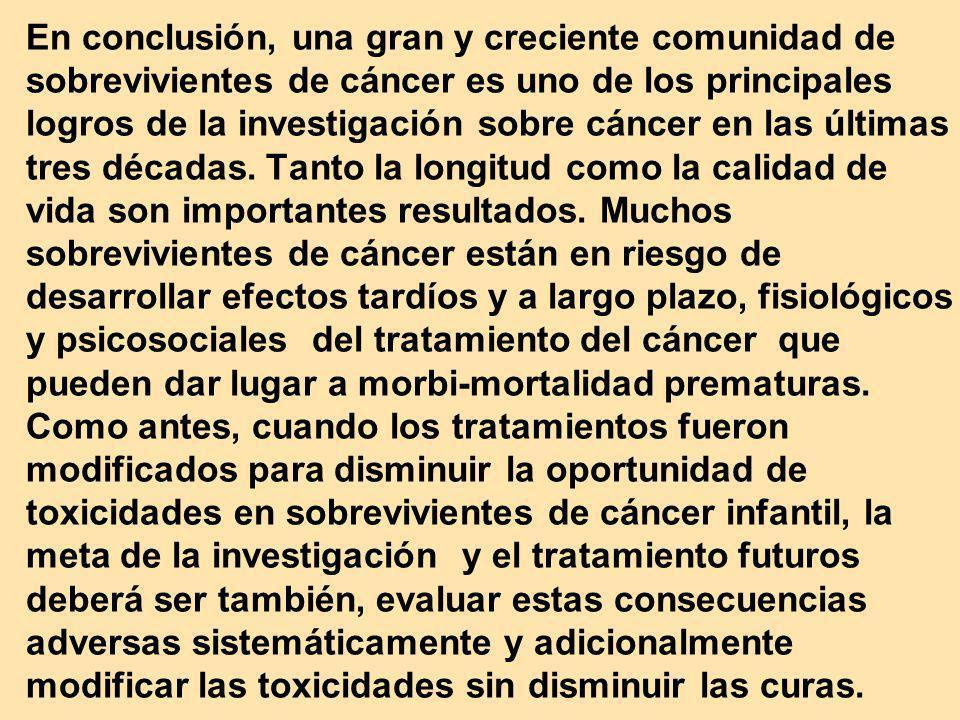 En conclusión, una gran y creciente comunidad de sobrevivientes de cáncer es uno de los principales logros de la investigación sobre cáncer en las últ