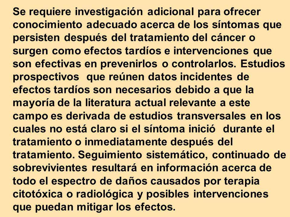 Se requiere investigación adicional para ofrecer conocimiento adecuado acerca de los síntomas que persisten después del tratamiento del cáncer o surge