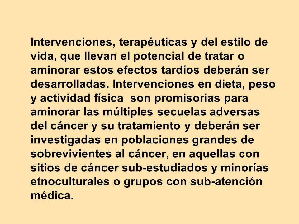 Intervenciones, terapéuticas y del estilo de vida, que llevan el potencial de tratar o aminorar estos efectos tardíos deberán ser desarrolladas. Inter