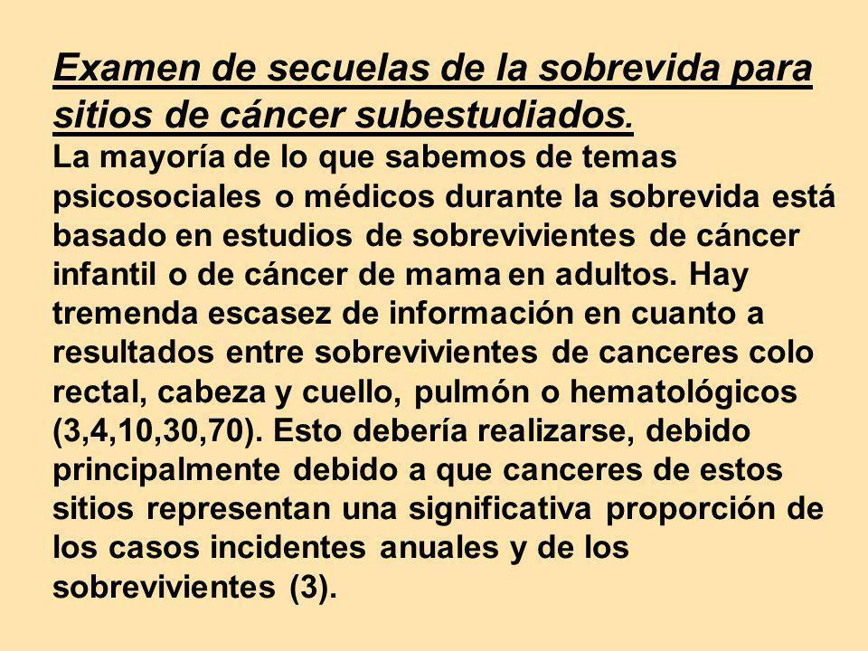 Examen de secuelas de la sobrevida para sitios de cáncer subestudiados. La mayoría de lo que sabemos de temas psicosociales o médicos durante la sobre