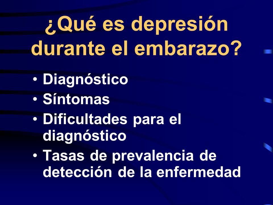 Diagnóstico de depresión Muchos profesionales de la salud, usan los criterios DSM-IV como el estándar para diagnosticar transtornos psiquiátricos El Prime-MD es usado en sitios de atención en salud general para diagnosticar desórdenes psiquiátricos comúnes y los codifican con los criterios DSM-IV