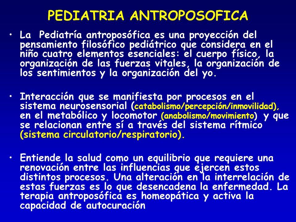 PEDIATRIA ANTROPOSOFICA La Pediatría antroposófica es una proyección del pensamiento filosófico pediátrico que considera en el niño cuatro elementos e