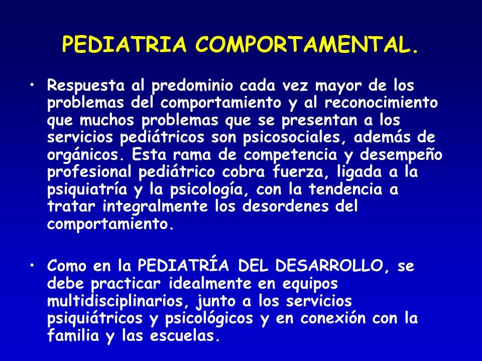 PEDIATRIA COMPORTAMENTAL. Respuesta al predominio cada vez mayor de los problemas del comportamiento y al reconocimiento que muchos problemas que se p