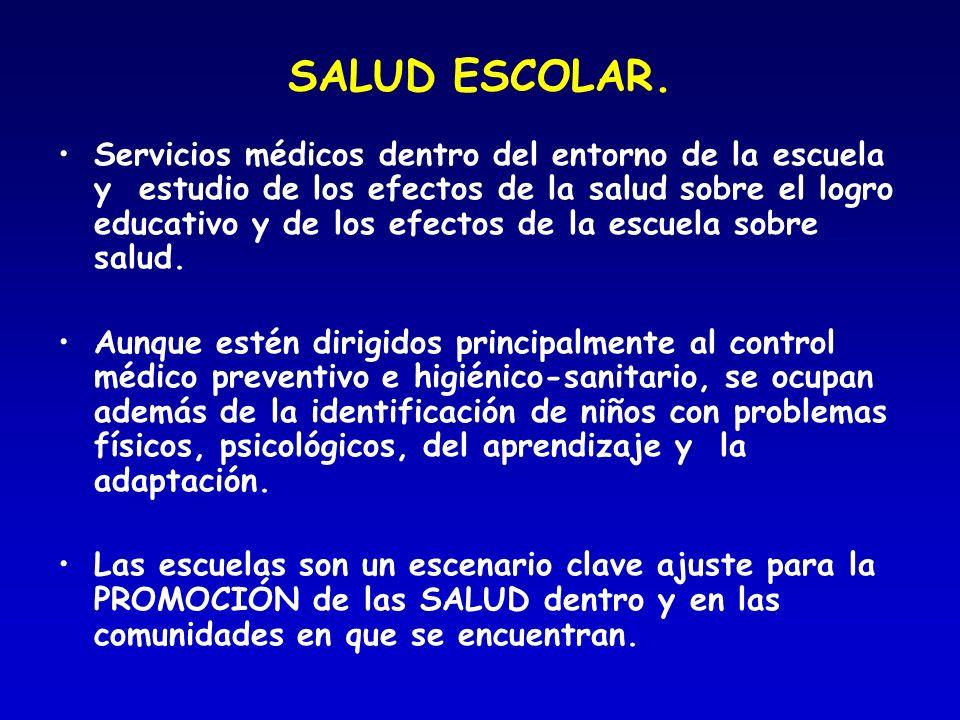 SALUD ESCOLAR. Servicios médicos dentro del entorno de la escuela y estudio de los efectos de la salud sobre el logro educativo y de los efectos de la