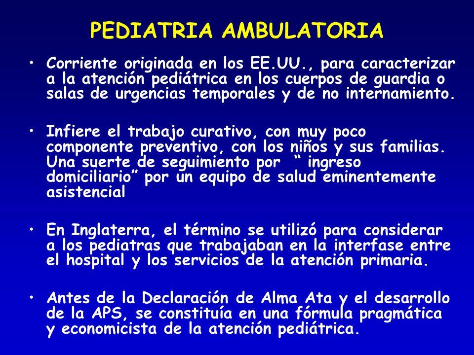 PEDIATRIA AMBULATORIA Corriente originada en los EE.UU., para caracterizar a la atención pediátrica en los cuerpos de guardia o salas de urgencias tem