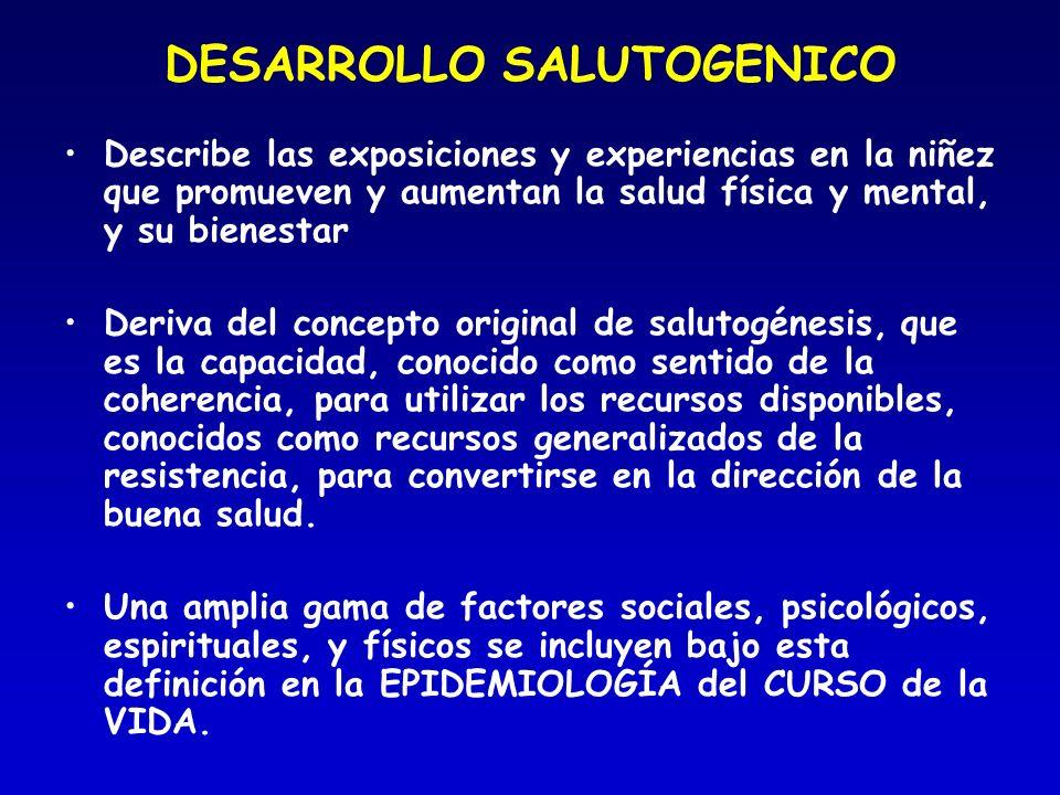 DESARROLLO SALUTOGENICO Describe las exposiciones y experiencias en la niñez que promueven y aumentan la salud física y mental, y su bienestar Deriva