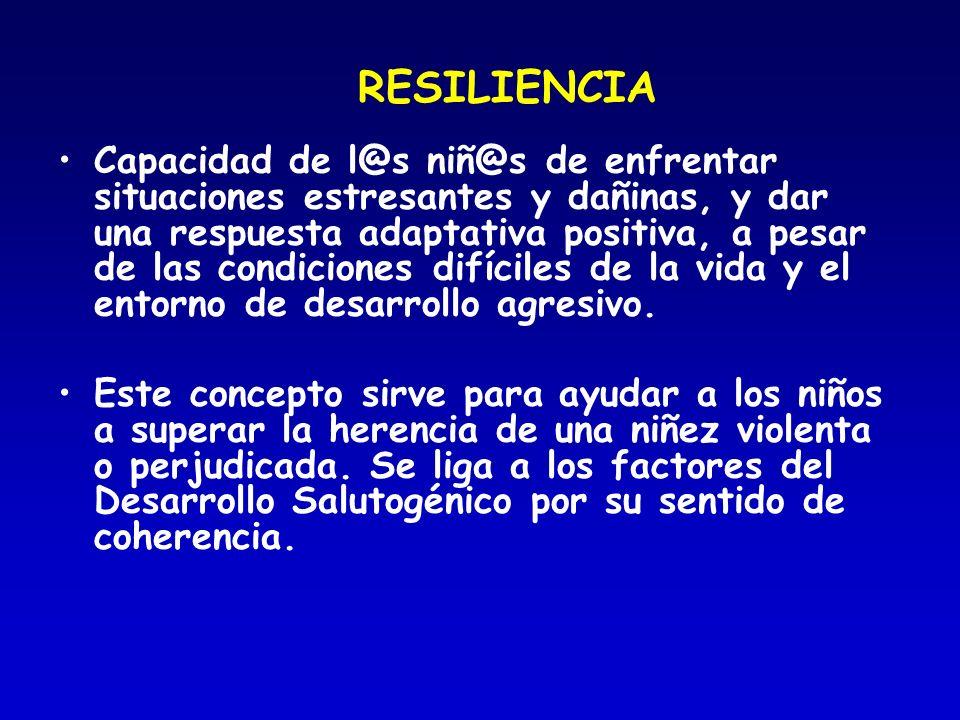 RESILIENCIA Capacidad de l@s niñ@s de enfrentar situaciones estresantes y dañinas, y dar una respuesta adaptativa positiva, a pesar de las condiciones
