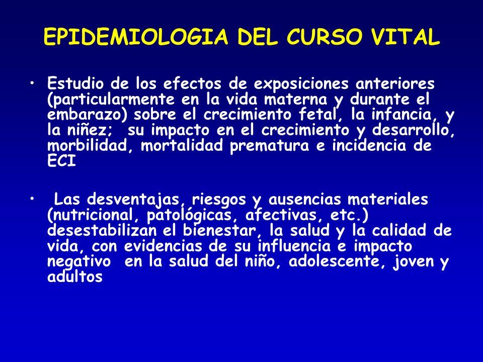 EPIDEMIOLOGIA DEL CURSO VITAL Estudio de los efectos de exposiciones anteriores (particularmente en la vida materna y durante el embarazo) sobre el cr