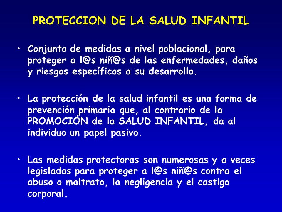 PROTECCION DE LA SALUD INFANTIL Conjunto de medidas a nivel poblacional, para proteger a l@s niñ@s de las enfermedades, daños y riesgos específicos a