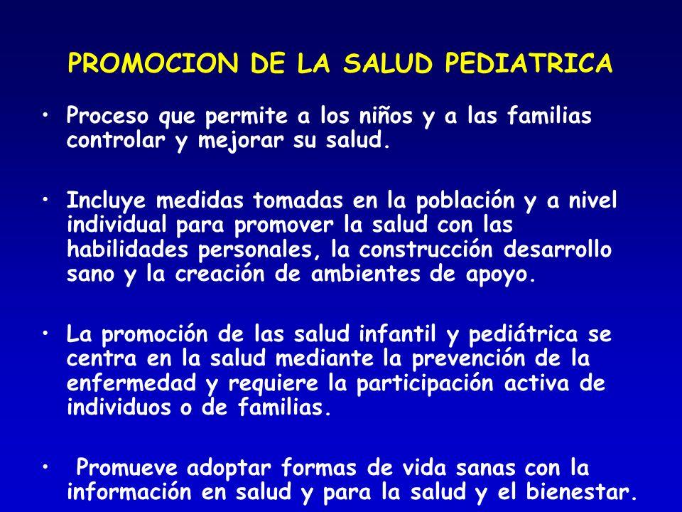 PROMOCION DE LA SALUD PEDIATRICA Proceso que permite a los niños y a las familias controlar y mejorar su salud. Incluye medidas tomadas en la població