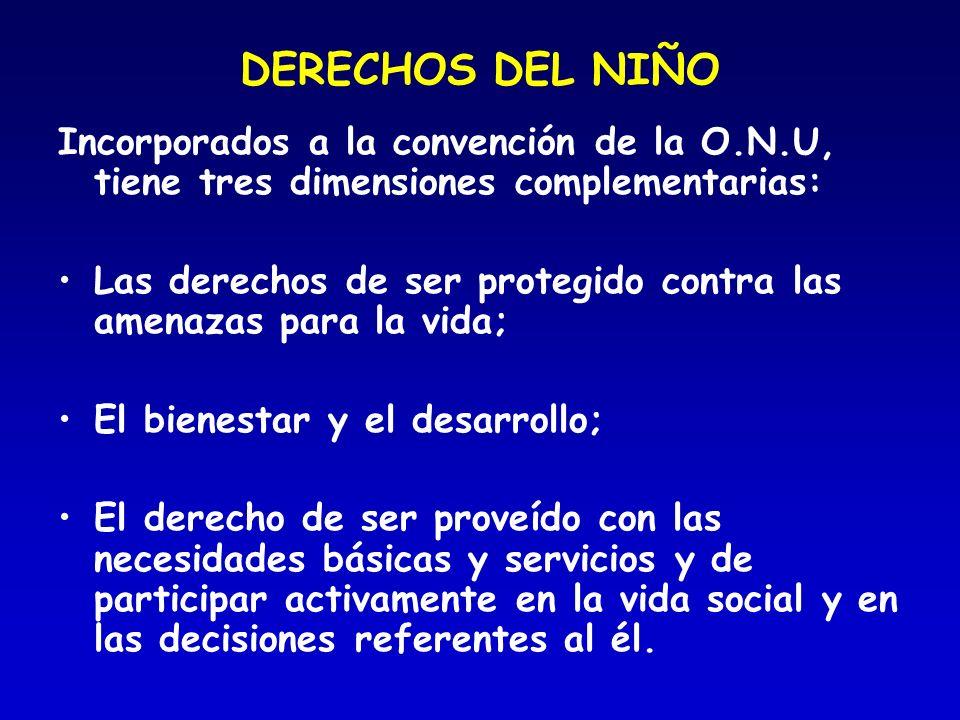 DERECHOS DEL NIÑO Incorporados a la convención de la O.N.U, tiene tres dimensiones complementarias: Las derechos de ser protegido contra las amenazas