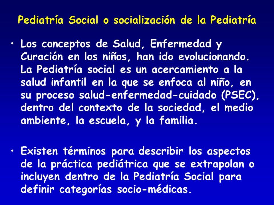 Pediatría Social o socialización de la Pediatría Los conceptos de Salud, Enfermedad y Curación en los niños, han ido evolucionando. La Pediatría socia