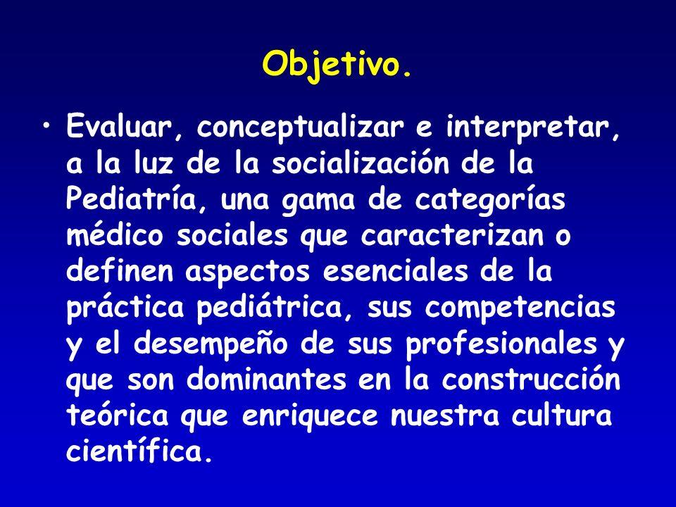 Objetivo. Evaluar, conceptualizar e interpretar, a la luz de la socialización de la Pediatría, una gama de categorías médico sociales que caracterizan