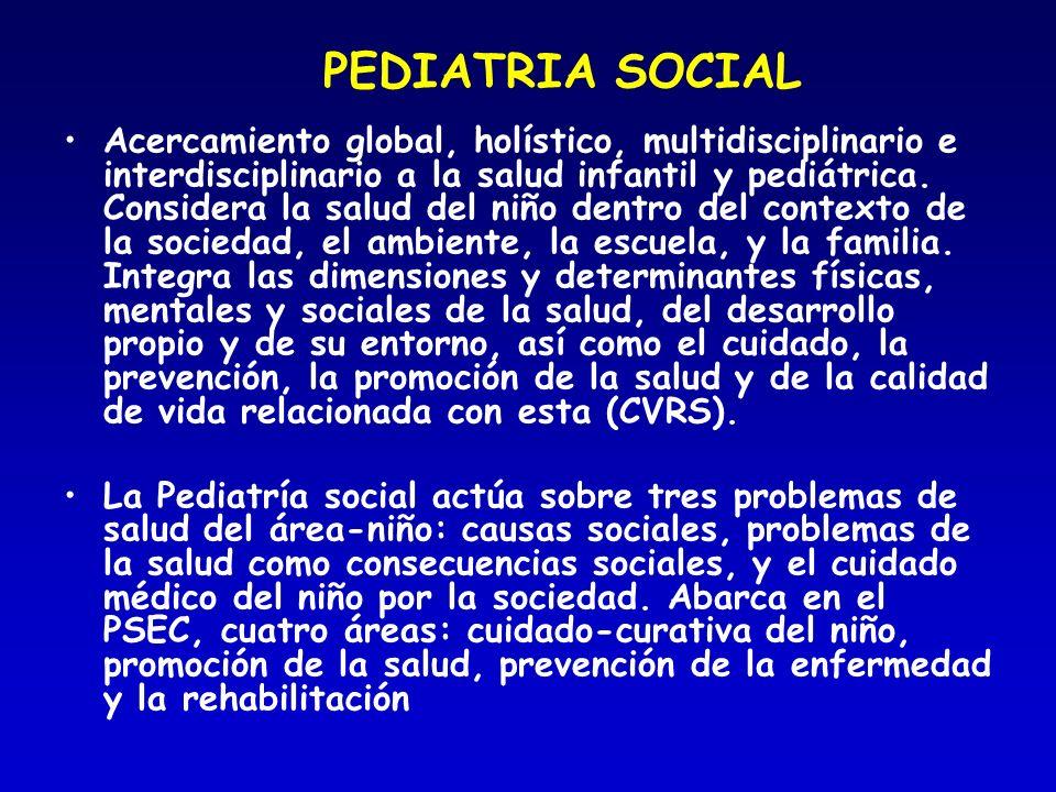 PEDIATRIA SOCIAL Acercamiento global, holístico, multidisciplinario e interdisciplinario a la salud infantil y pediátrica. Considera la salud del niño