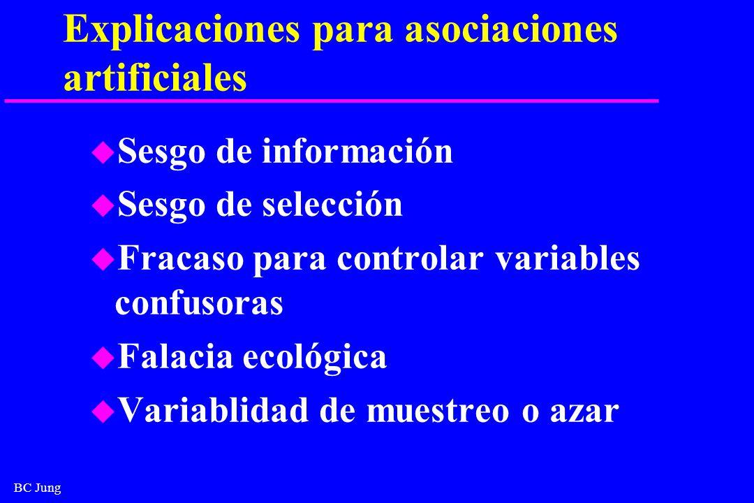 BC Jung Explicaciones para asociaciones artificiales u Sesgo de información u Sesgo de selección u Fracaso para controlar variables confusoras u Falac