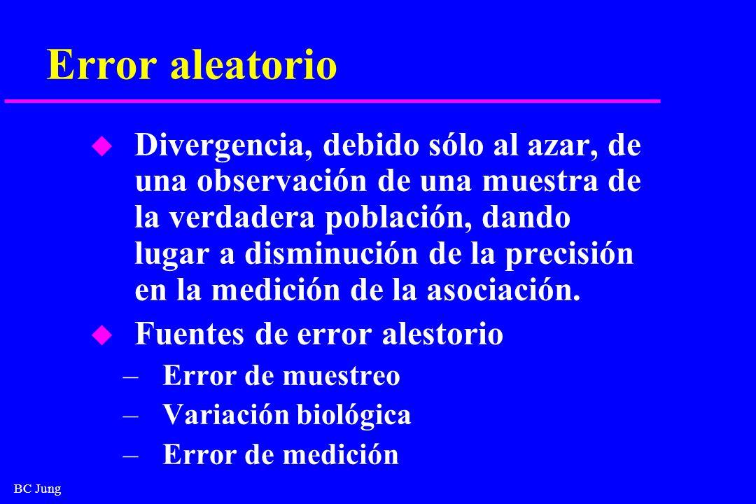 BC Jung Error aleatorio u Divergencia, debido sólo al azar, de una observación de una muestra de la verdadera población, dando lugar a disminución de