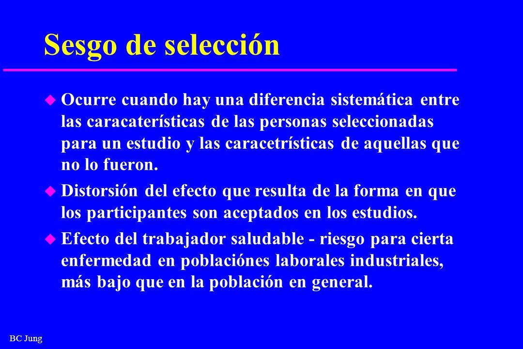 BC Jung Sesgo de selección u Ocurre cuando hay una diferencia sistemática entre las caracaterísticas de las personas seleccionadas para un estudio y l