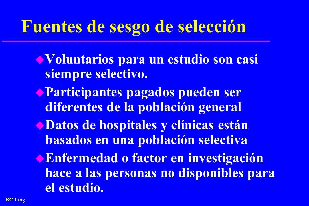BC Jung Fuentes de sesgo de selección u Voluntarios para un estudio son casi siempre selectivo. u Participantes pagados pueden ser diferentes de la po