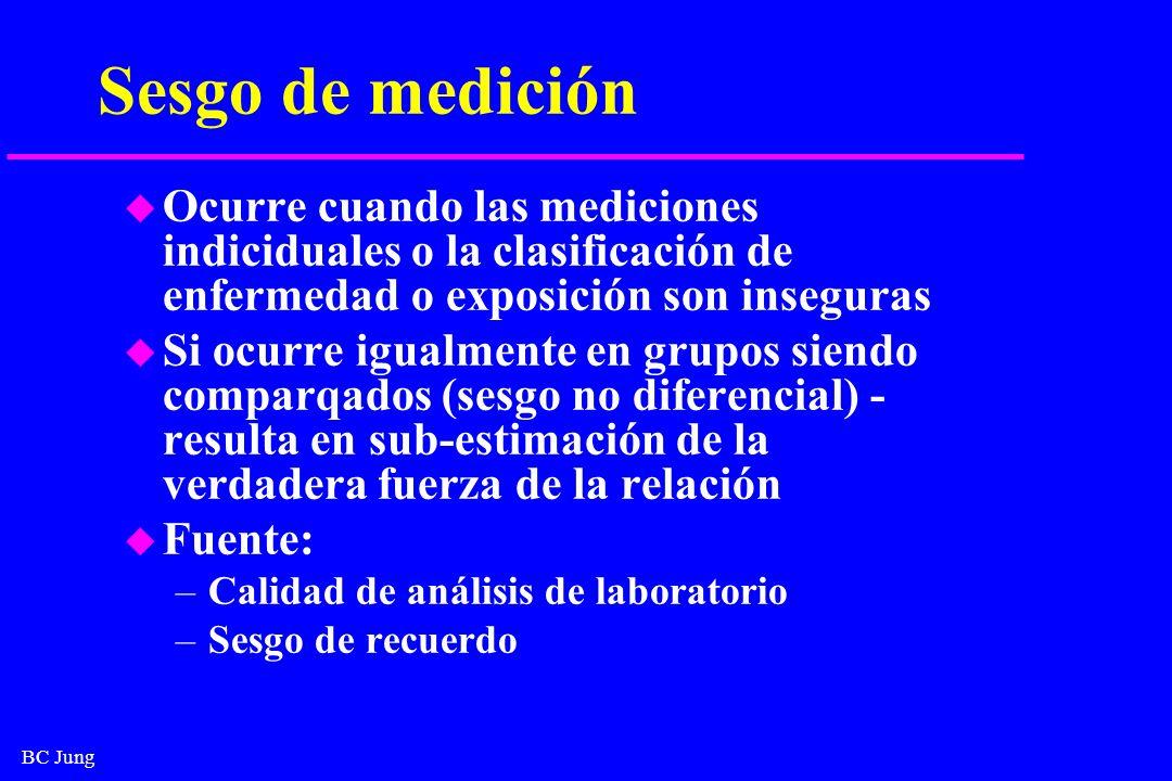 BC Jung Sesgo de medición u Ocurre cuando las mediciones indiciduales o la clasificación de enfermedad o exposición son inseguras u Si ocurre igualmen