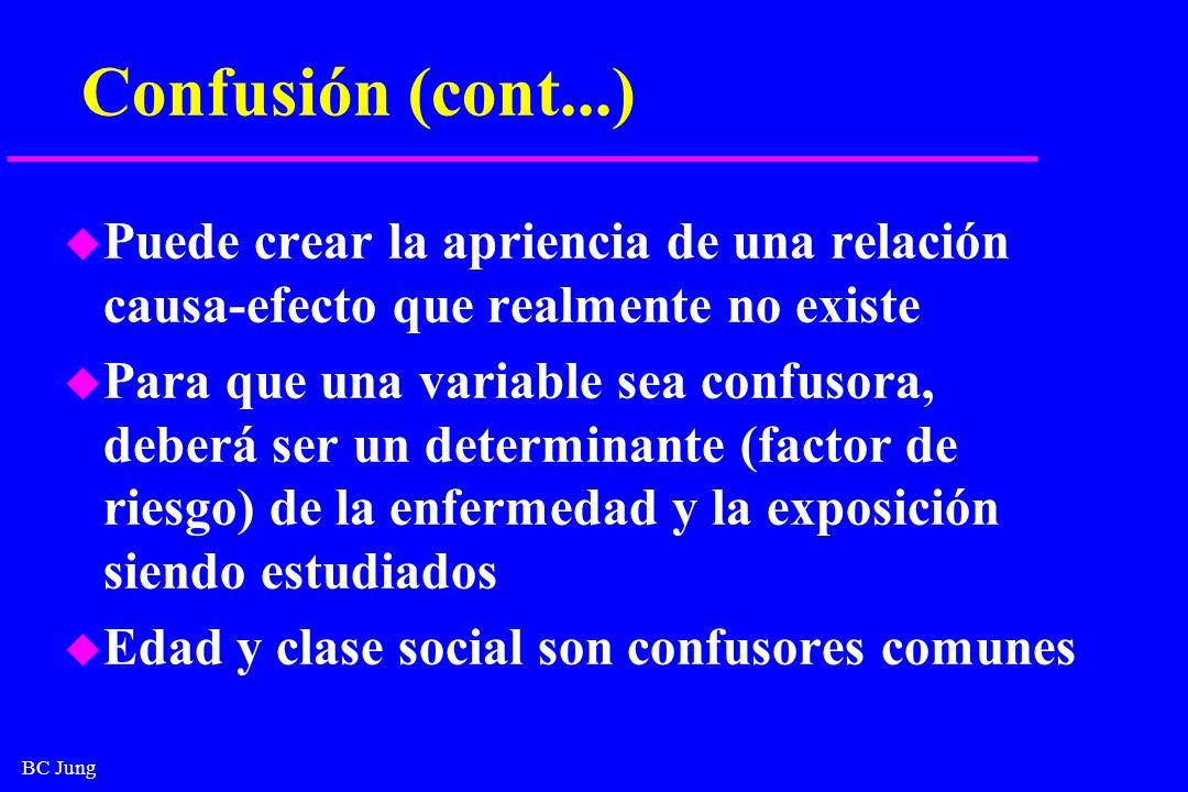 BC Jung Confusión (cont...) u Puede crear la apriencia de una relación causa-efecto que realmente no existe u Para que una variable sea confusora, deb