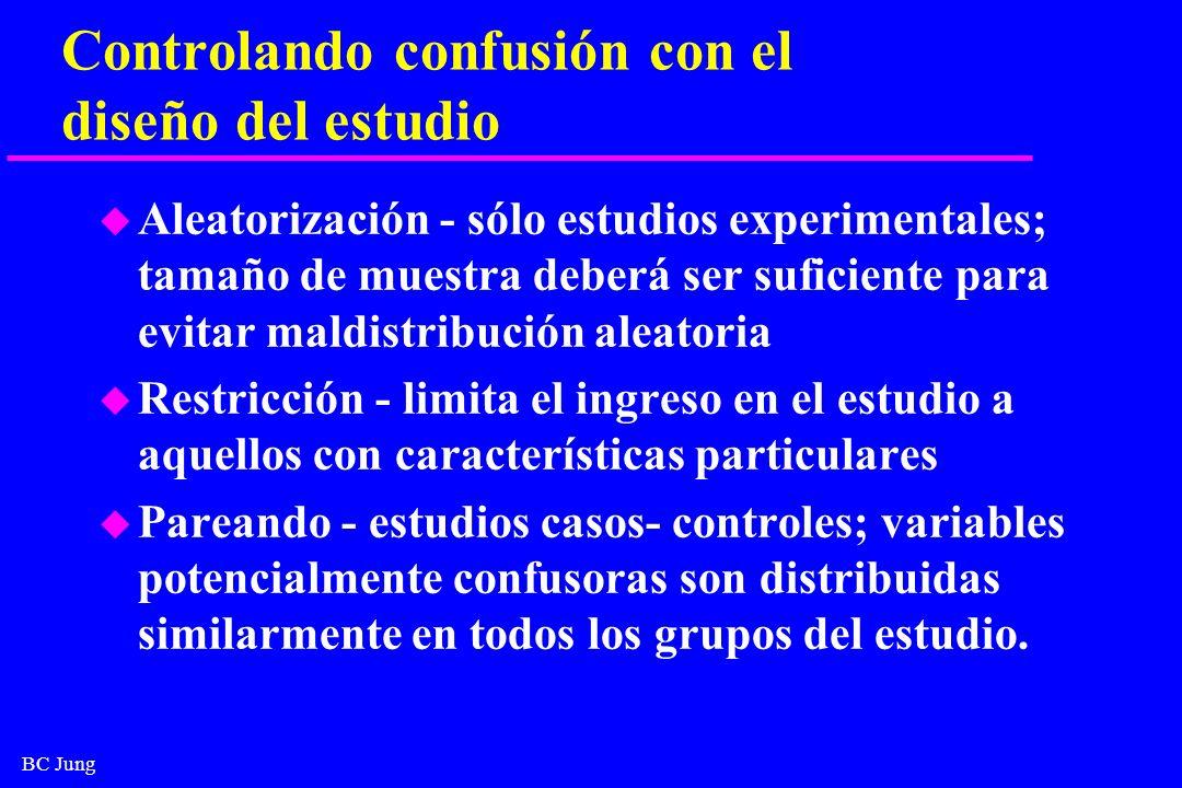 BC Jung Controlando confusión con el diseño del estudio u Aleatorización - sólo estudios experimentales; tamaño de muestra deberá ser suficiente para