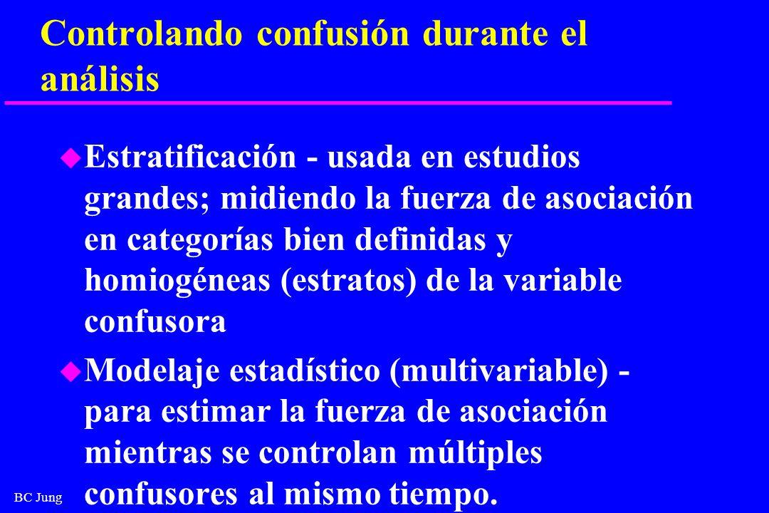 BC Jung Controlando confusión durante el análisis u Estratificación - usada en estudios grandes; midiendo la fuerza de asociación en categorías bien d