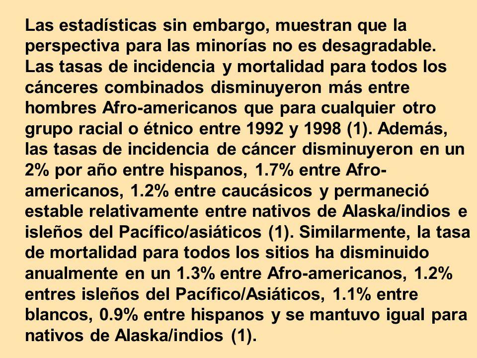 Las estadísticas sin embargo, muestran que la perspectiva para las minorías no es desagradable. Las tasas de incidencia y mortalidad para todos los cá