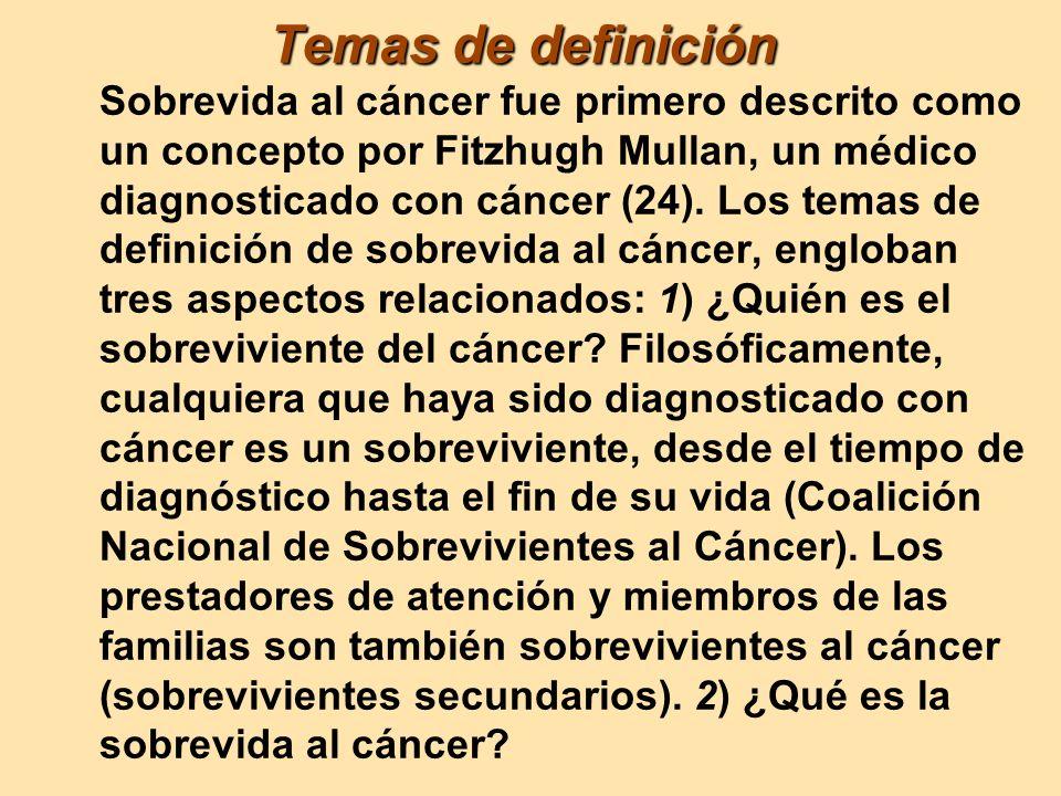 Temas de definición Temas de definición Sobrevida al cáncer fue primero descrito como un concepto por Fitzhugh Mullan, un médico diagnosticado con cán