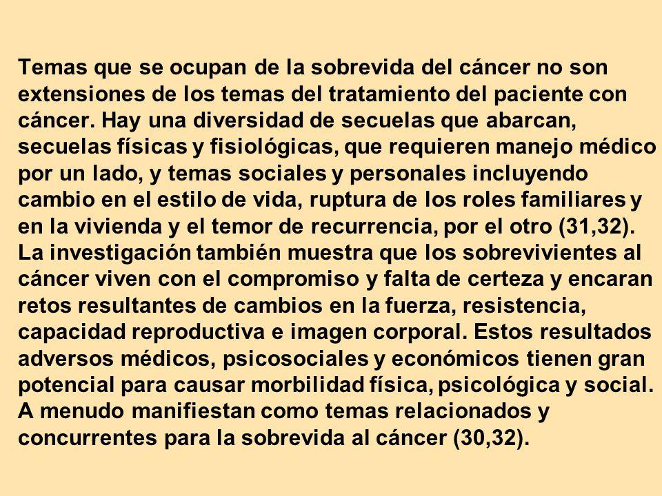 Temas que se ocupan de la sobrevida del cáncer no son extensiones de los temas del tratamiento del paciente con cáncer. Hay una diversidad de secuelas
