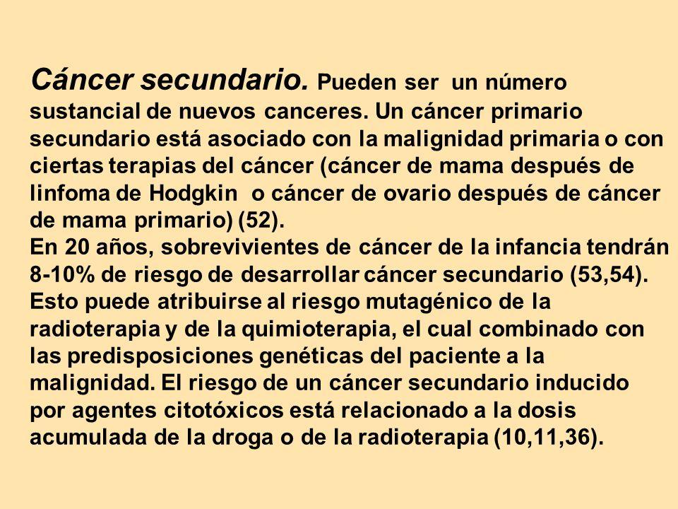 Cáncer secundario. Pueden ser un número sustancial de nuevos canceres. Un cáncer primario secundario está asociado con la malignidad primaria o con ci