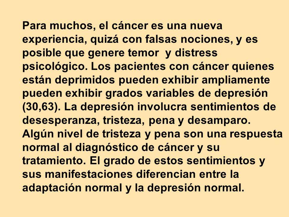 Para muchos, el cáncer es una nueva experiencia, quizá con falsas nociones, y es posible que genere temor y distress psicológico.