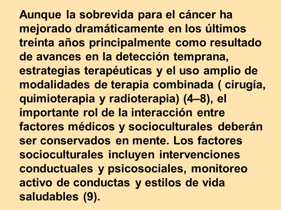 Aunque la sobrevida para el cáncer ha mejorado dramáticamente en los últimos treinta años principalmente como resultado de avances en la detección tem