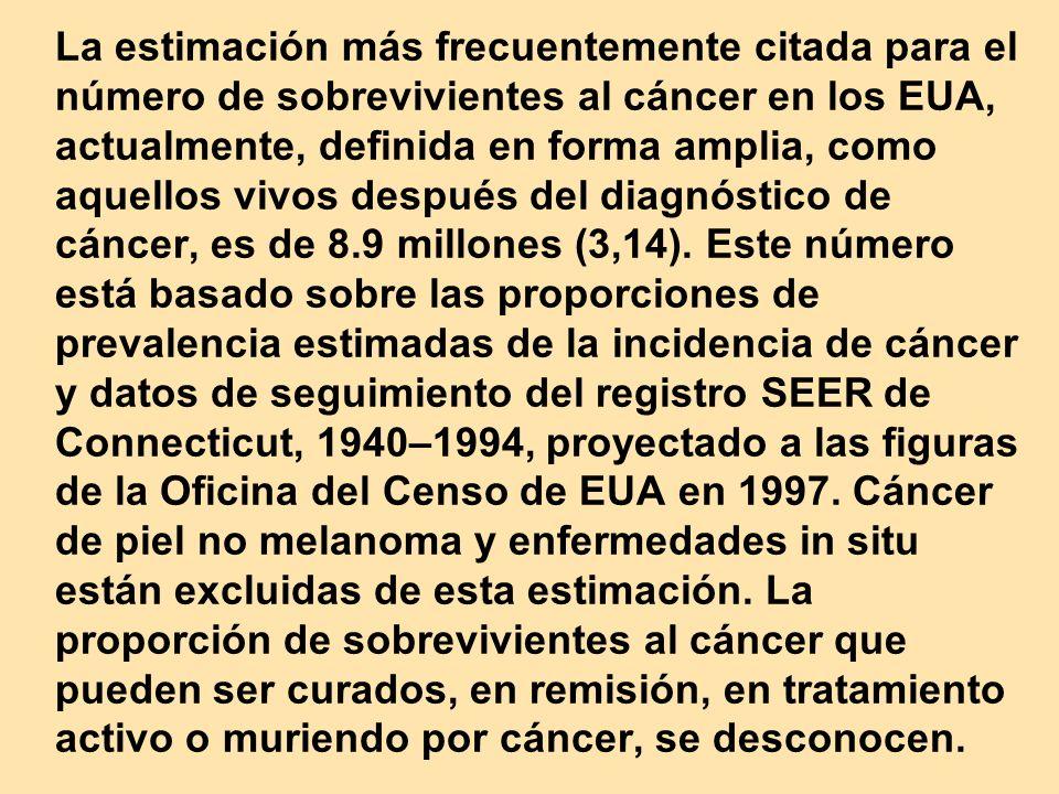 La estimación más frecuentemente citada para el número de sobrevivientes al cáncer en los EUA, actualmente, definida en forma amplia, como aquellos vivos después del diagnóstico de cáncer, es de 8.9 millones (3,14).