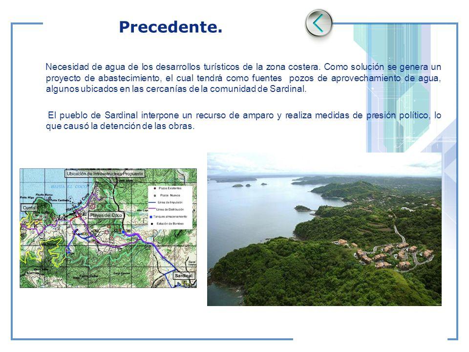 Precedente. Necesidad de agua de los desarrollos turísticos de la zona costera. Como solución se genera un proyecto de abastecimiento, el cual tendrá