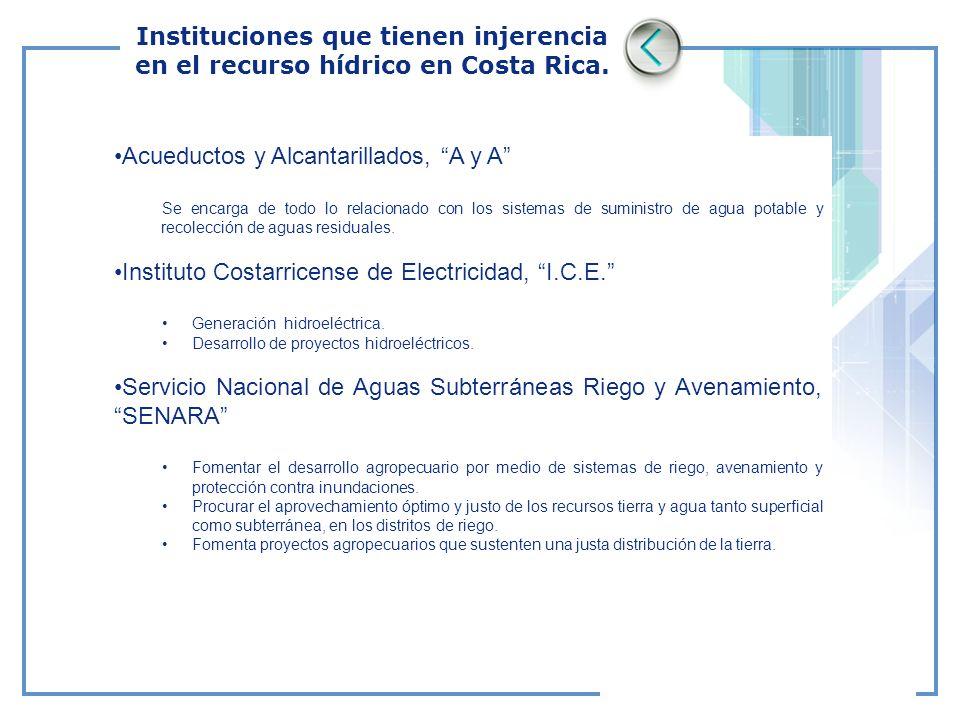Acueductos y Alcantarillados, A y A Se encarga de todo lo relacionado con los sistemas de suministro de agua potable y recolección de aguas residuales