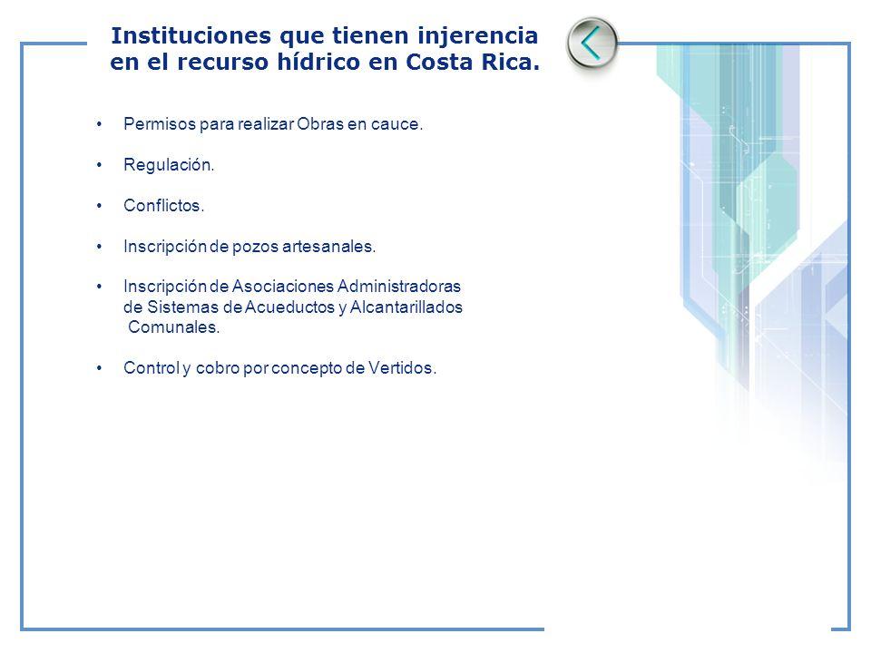 Instituciones que tienen injerencia en el recurso hídrico en Costa Rica. Permisos para realizar Obras en cauce. Regulación. Conflictos. Inscripción de