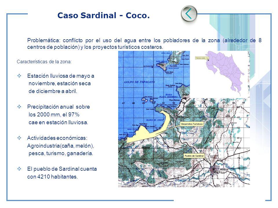 Caso Sardinal - Coco. Problemática: conflicto por el uso del agua entre los pobladores de la zona (alrededor de 8 centros de población) y los proyecto