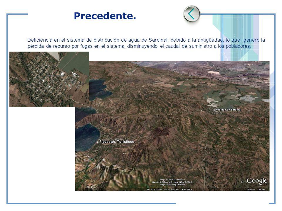 Precedente. Deficiencia en el sistema de distribución de agua de Sardinal, debido a la antigüedad, lo que generó la pérdida de recurso por fugas en el